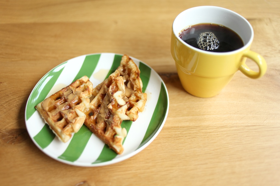 waffles and peanut butter