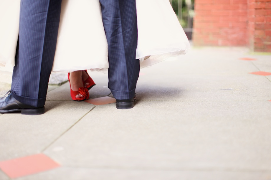 red wedding shoes justin and mary walk through a wedding san francisco