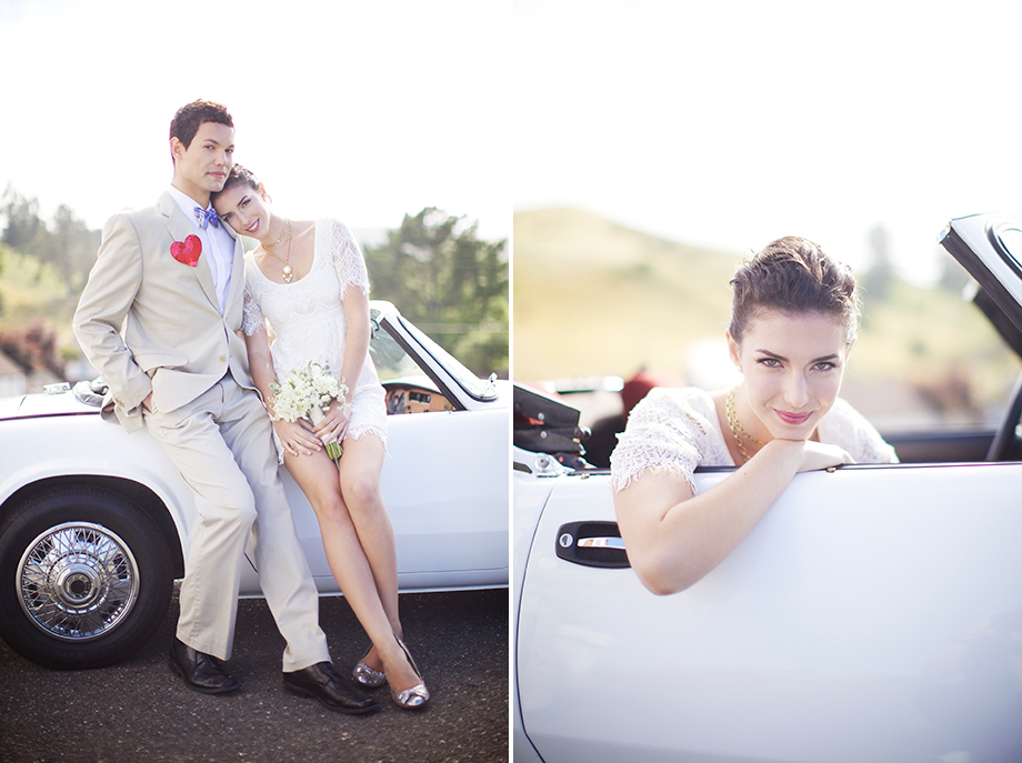 white vintage car wedding photos
