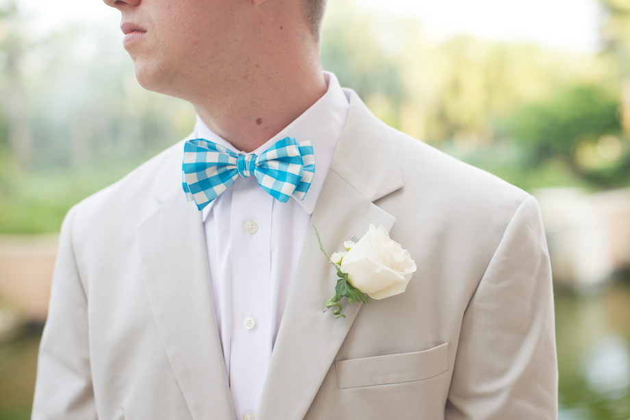 turquoise gingham bow tie gem photo