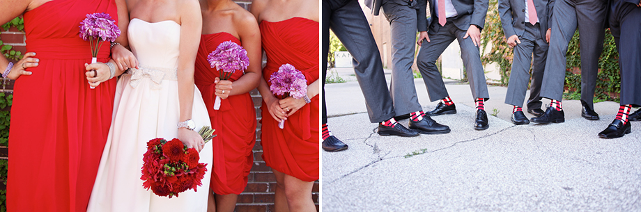 red and grey wedding party gem photo