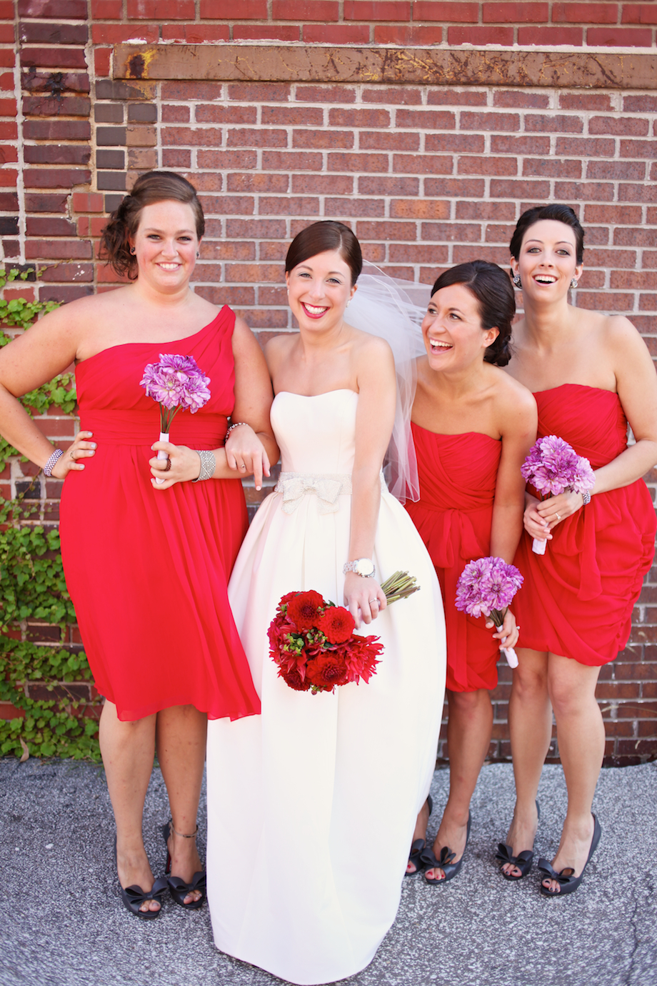 red bridesmaids gowns gem photo
