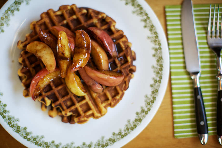 pumpkin pecan waffles with apple compote on top
