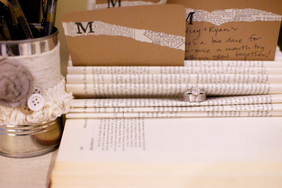books wedding decor