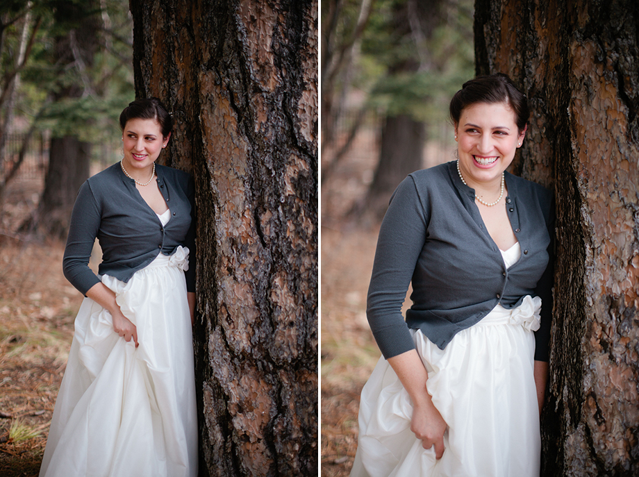 winter bridal portrait lake tahoe