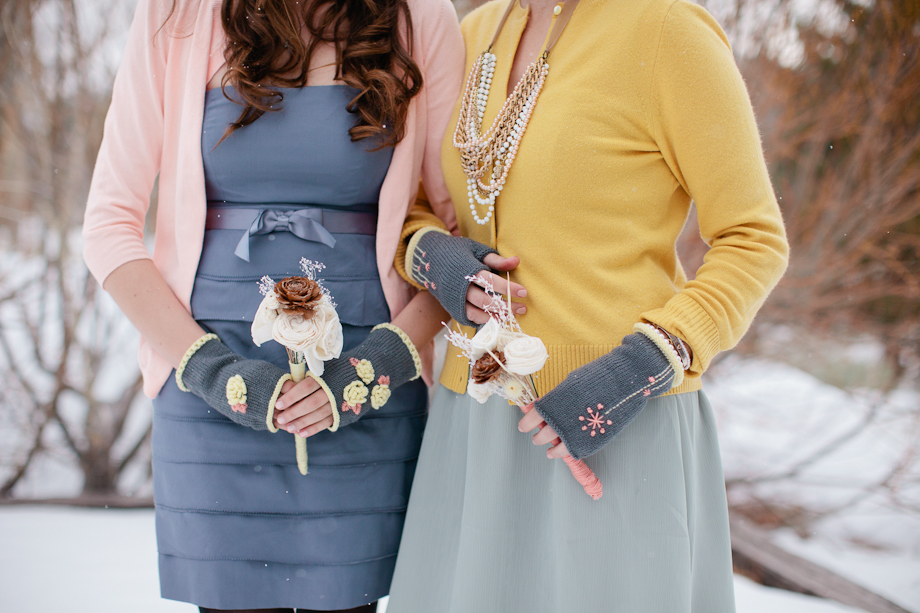 knit winter wedding accessories