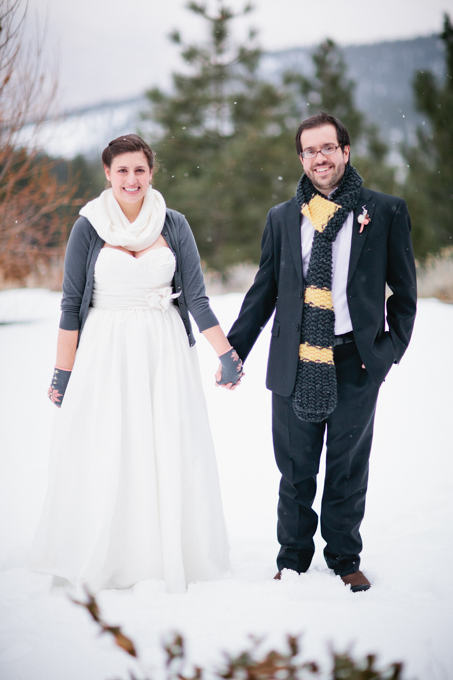 snowy winter wedding photographer