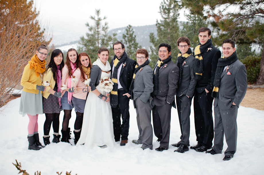 snowy winter wedding photos bridal party