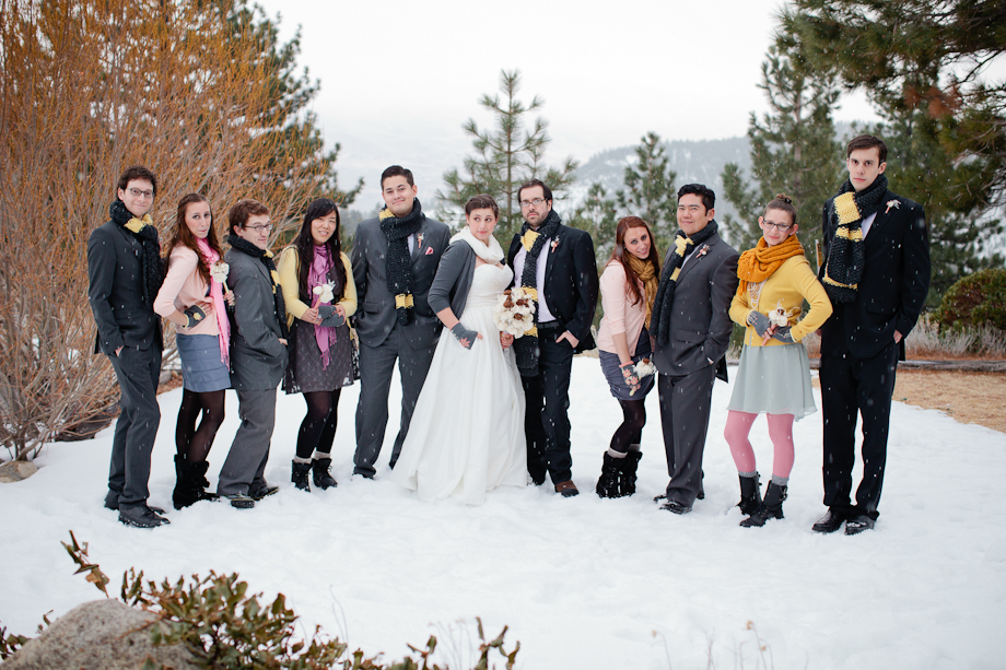 tahoe winter wedding photography bridal party