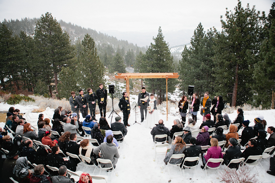 snowy tahoe wedding