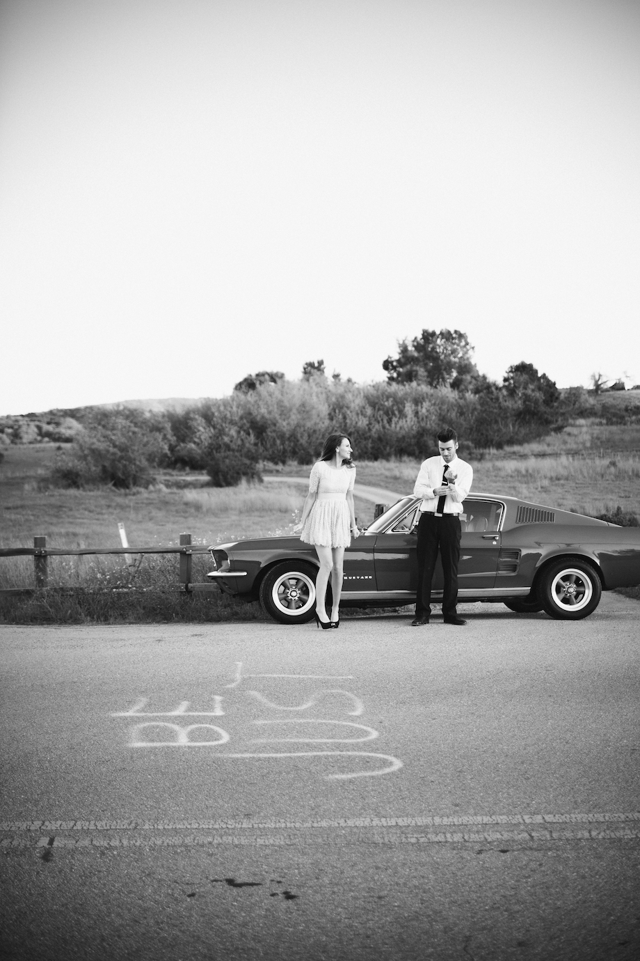 retro engagement session mustang