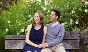 rose garden engagement photo