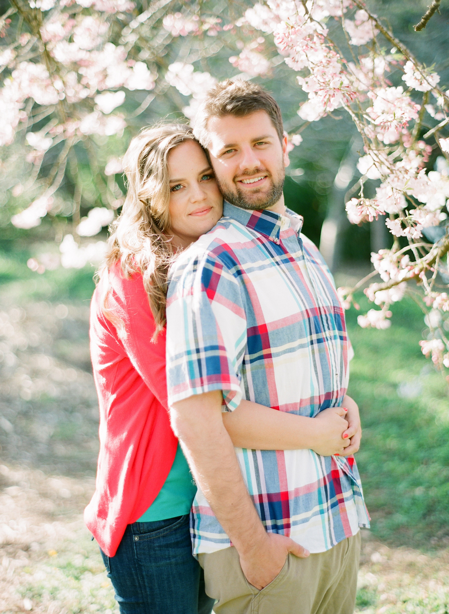 cherry blossom engagement photo film